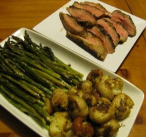 Cayenne Steak with Roasted Asparagus and Potatoes