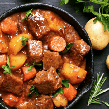 healthy slow cooked beef stew in crockpot
