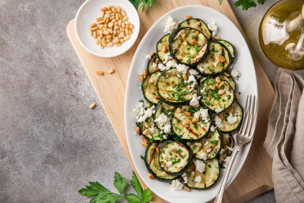 Grilled Zucchini with Feta and Pine Nuts